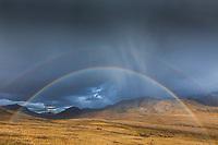 Double rainbow arcs over the autumn tundra in front of the Alaska Range mountains in Denali National Park, Interior, Alaska.