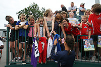 USWNT's Shannon Boxx signs autographs for fans at the conclusion of the game. The U.S. Women's National Team defeated Canada 1-0 in a friendly match at Marina Auto Stadium in Rochester, NY on July 19, 2009..