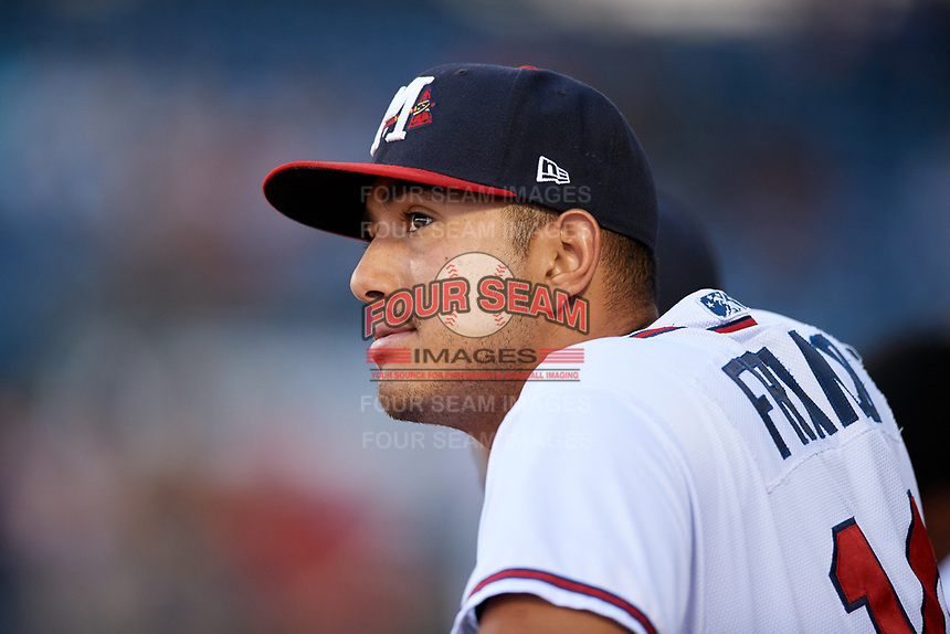 Mississippi Braves pitcher Enderson Franco (14) in the dugout during a game against the Mobile BayBears on May 7, 2018 at Trustmark park in Pearl, Mississippi.  Mobile defeated Mississippi 5-0.  (Mike Janes/Four Seam Images)