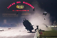 Sep 1, 2019; Clermont, IN, USA; NHRA pro mod driver Chad Green crashes and goes airborne during qualifying for the US Nationals at Lucas Oil Raceway. Green was awake and alert and has been transported to a local hospital for further evaluation. Mandatory Credit: Mark J. Rebilas-USA TODAY Sports