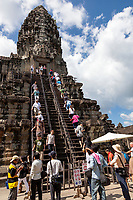Cambodia, Angkor Wat.  Stairway to the Temple Tower.