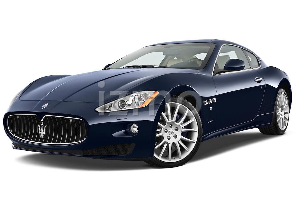 Low aggressive front three quarter view of a 2010 Maserati Granturismo S Automatic Coupe