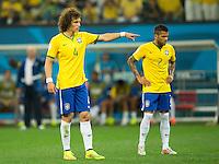 David Luiz of Brazil with Dani Alves