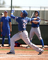 Jake Skole of the Texas Rangers plays in a minor league spring training game against the Kansas City Royals at the Rangers minor league complex, on March 22, 2011  in Surprise, Arizona. .Photo by:  Bill Mitchell/Four Seam Images.