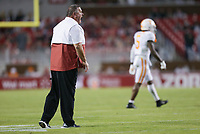 Arkansas head coach Sam Pittman reacts, Saturday, November 7, 2020 during the second quarter of a football game at Donald W. Reynolds Razorback Stadium in Fayetteville. Check out nwaonline.com/201108Daily/ for today's photo gallery. <br /> (NWA Democrat-Gazette/Charlie Kaijo)