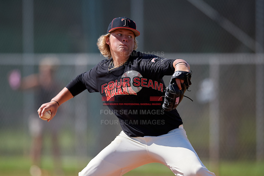 Luke Hayden (1) during the WWBA World Championship at Terry Park on October 11, 2020 in Fort Myers, Florida.  Luke Hayden, a resident of Bloomington, Indiana who attends Edgewood High School, is committed to Indiana.  (Mike Janes/Four Seam Images)