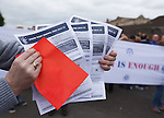 Rangers fans with red cards to season ticket renewals at Ibrox Stadium this afternoon