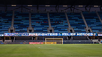 SAN JOSE, CA - SEPTEMBER 19: Firefighter sign during a game between Portland Timbers and San Jose Earthquakes at Earthquakes Stadium on September 19, 2020 in San Jose, California.