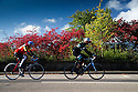 02/10/16 <br /> <br /> After a chilly night, cyclists past stunning autumn colours as they ride through Darley Dale in the Derbyshire Peak District this morning. <br /> <br /> All Rights Reserved: F Stop Press Ltd. +44(0)1773 550665   www.fstoppress.com