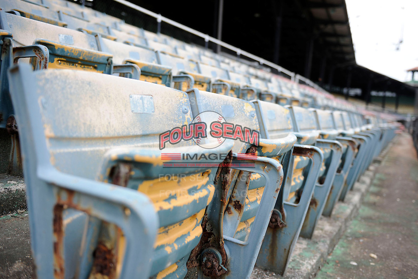 Empty seats at Rickwood Field, the oldest surviving professional baseball park in the United States, first opening on August 18, 1910, as home for the Birmingham Barons.  Image taken on April 16, 2013 in Birmingham, Alabama.  (Mike Janes/Four Seam Images)