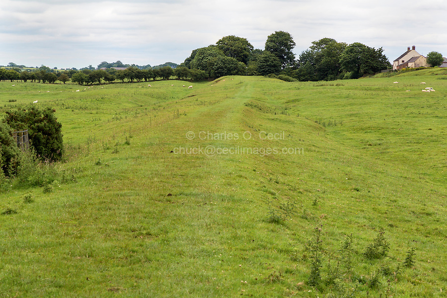 Hadrian's Wall Remnants, Bleatarn Farm, Cumbria, England, UK.  Remnants of the ditch on the north side of the wall are visible on the left.
