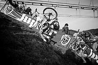 "race leaders Wout Van Aert (BEL/Vastgoedservice-Golden Palace) & Michael Vanthourenhout (BEL/Sunweb-Napoleon Games) almost crawling up ""Le Mur"" de Francorchamps (50% gradient!) <br /> <br /> Superprestige Francorchamps 2014"
