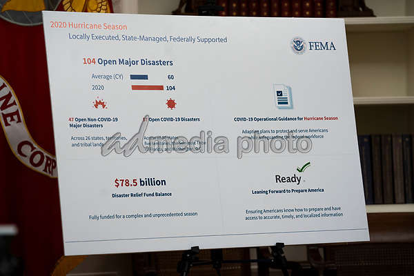 Chart used as United States President Donald J. Trump makes remarks as he receives a briefing on the 2020 Hurricane Season in the Oval Office, of the White House in Washington, DC onThursday, May 28, 2020. <br /> Credit: Doug Mills / Pool via CNP/AdMedia