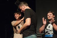 """Filmpremiere von """"Der Tag wird kommen"""".<br /> Anlaesslich der Premiere des Films """"Der Tag wird kommen"""" zum gleichnamigen Lied von Markus Wiebusch, spielte Wiebusch im Hamburger Club """"Knust"""" ein exklusives Konzert fuer die ca. 400 Unterstuetzer des Films. In dem Lied wird klar Stellung gegen Homophobie im Fussball bezogen. Ueber 1.000 Unterstuetzer mit in einer Crowdfounding-Kampagne die Finanzierung des Films gesichert. Fussballfans des FC. St. Pauli, Fortuna Duesseldorf, dem HSV, Bayern Muenchen und anderen Clubs haben diese Film durch ihre Mitwirkung unterstuetzt.<br /> Vlnr.: Stephfan Waak (Haupdarsteller), Markus Wiebusch (Musik und Drehbuch), Dennis Dirksen (Regie-Team).<br /> 6.9.2014, Hamburg<br /> Copyright: Christian-Ditsch.de<br /> [Inhaltsveraendernde Manipulation des Fotos nur nach ausdruecklicher Genehmigung des Fotografen. Vereinbarungen ueber Abtretung von Persoenlichkeitsrechten/Model Release der abgebildeten Person/Personen liegen nicht vor. NO MODEL RELEASE! Don't publish without copyright Christian-Ditsch.de, Veroeffentlichung nur mit Fotografennennung, sowie gegen Honorar, MwSt. und Beleg. Konto: I N G - D i B a, IBAN DE58500105175400192269, BIC INGDDEFFXXX, Kontakt: post@christian-ditsch.de<br /> Urhebervermerk wird gemaess Paragraph 13 UHG verlangt.]"""