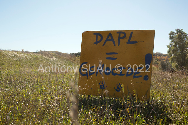 Cannon Ball, North Dakota<br /> September 26, 2016<br /> <br /> The Standing Rock Sioux encampment near the construction of the Dakota Access Pipeline stands against the construction of the new pipeline. <br /> <br /> The Standing Rock Sioux, whose tribal lands are a half-mile south of the proposed route, say the pipeline would desecrate sacred burial and prayer sites, and could leak oil into the Missouri and Cannon Ball rivers, on which the tribe relies for water.<br /> <br /> Opposition to the pipeline has drawn support from 200 Native American tribes, as well as from activists and celebrities. <br /> <br /> Energy Transfer Partners—one of the major stakeholders in the controversial Dakota Access pipeline—bought over 6,000 acres of land surrounding the line's route in North Dakota, according to several media reports over the weekend.