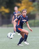Pepperdine University forward/midfielder Ally Holtz (2) tracks ball at midfield. Pepperdine University defeated Boston College,1-0, at Soldiers Field Soccer Stadium, on September 29, 2012.