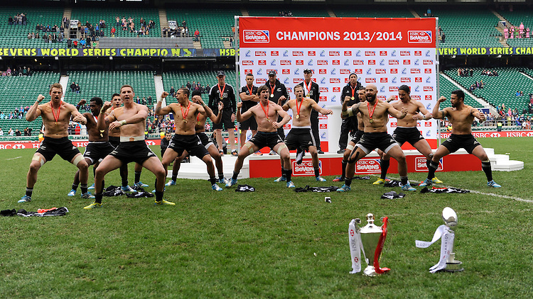 New Zealand perform the Haka after winning both the Marriott London Sevens and the HSBC Sevens Series during Day Two of the iRB Marriott London Sevens at Twickenham on Sunday 11th May 2014 (Photo by Rob Munro)