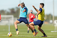BRADENTON, FL - JANUARY 19: Cade Cowell, Mauricio Pineda battle for a ball during a training session at IMG Academy on January 19, 2021 in Bradenton, Florida.