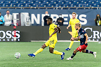 FOXBOROUGH, MA - OCTOBER 3: Tah Brian Anunga #27 of Nashville SC passes the ball during a game between Nashville SC and New England Revolution at Gillette Stadium on October 3, 2020 in Foxborough, Massachusetts.