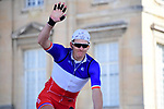 French National Champion Arnaud Demare (FRA) Groupama-FDJ at sign on in Compiegne before the start of the 116th edition of Paris-Roubaix 2018. 8th April 2018.<br /> Picture: ASO/Pauline Ballet | Cyclefile<br /> <br /> <br /> All photos usage must carry mandatory copyright credit (© Cyclefile | ASO/Pauline Ballet)