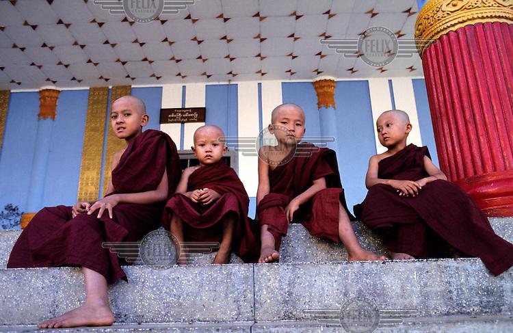 Young Novice Monks at Shwedagon Buddhist Pagoda.