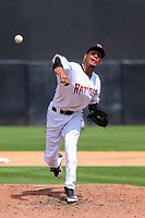 Wisconsin Timber Rattlers pitcher Carlos Herrera (16) delivers a pitch during a Midwest League game against the Lansing Lugnuts on May 8, 2018 at Fox Cities Stadium in Appleton, Wisconsin. Lansing defeated Wisconsin 11-4. (Brad Krause/Four Seam Images)
