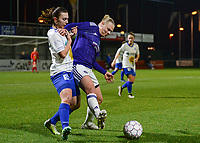 20180126 - OOSTAKKER , BELGIUM : Gent's Jody Vangheluwe pictured in a duel with Anderlecht's Ella Van Kerkhoven (right) during the quarter final of Belgian cup 2018 , a womensoccer game between KAA Gent Ladies and RSC Anderlecht , at the PGB stadion in Oostakker , friday 27 th January 2018 . PHOTO SPORTPIX.BE   DAVID CATRY