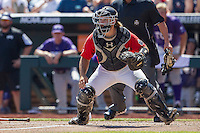 Texas Tech Red Raiders catcher Tyler Floyd (16) waits for a throw to the plate against the TCU Horned Frogs in Game 3 of the NCAA College World Series on June 19, 2016 at TD Ameritrade Park in Omaha, Nebraska. TCU defeated Texas Tech 5-3. (Andrew Woolley/Four Seam Images)