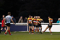 TRY - Richmond Rugby score with Louis Molloy during the English National League match between Richmond and Blackheath  at Richmond Athletic Ground, Richmond, United Kingdom on 4 January 2020. Photo by Carlton Myrie.