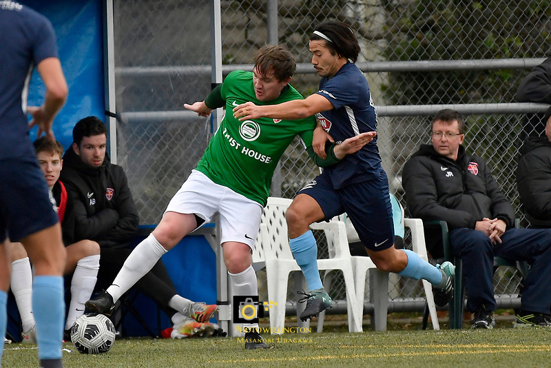 Cory Chettleburgh of the Wairarapa United competes for the ball with Gavin Hoy of the North Wellington FC during the Central League Football -  North Wellington FC v Wairarapa United at Alex Moore Park ( Alex Moore Artificial) / Johnsonville / New Zealand on Saturday 29 May 2021.<br /> Copyright photo: Masanori Udagawa /  www.photosport.nz