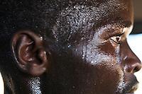 Kenyan Abel Kirui, two-time World Champion marathon runner sweating after a training session near Eldoret, Kenya.