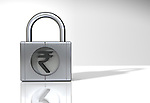 Representation of Indian Rupee symbol on a padlock