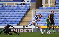 3rd October 2020; Madejski Stadium, Reading, Berkshire, England; English Football League Championship Football, Reading versus Watford; James Garner of Watford tackles George Puscas of Reading