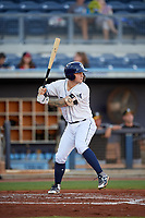 Charlotte Stone Crabs first baseman Robbie Tenerowicz (1) at bat during a game against the Bradenton Marauders on August 6, 2018 at Charlotte Sports Park in Port Charlotte, Florida.  Charlotte defeated Bradenton 2-1.  (Mike Janes/Four Seam Images)