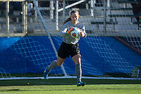 Cary, North Carolina - Sunday December 6, 2015: Duke Blue Devils goalie EJ Proctor (30) makes a save during second half action against the Penn State Nittany Lions at the 2015 NCAA Women's College Cup at WakeMed Soccer Park.  The Nittany Lions defeated the Blue Devils 1-0.