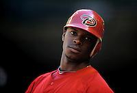 Apr. 3, 2010; Phoenix, AZ, USA; Arizona Diamondbacks outfielder Justin Upton against the Chicago Cubs at Chase Field. Mandatory Credit: Mark J. Rebilas-