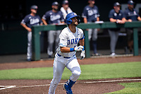 Duke Blue Devils catcher Michael Rothenberg (38) jogs to first base against the Liberty Flames in NCAA Regional play on Robert M. Lindsay Field at Lindsey Nelson Stadium on June 4, 2021, in Knoxville, Tennessee. (Danny Parker/Four Seam Images)