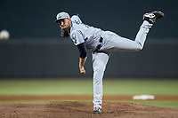 Lynchburg Hillcats starting pitcher Adam Scott (33) follows through on his delivery against the Winston-Salem Dash at BB&T Ballpark on May 9, 2019 in Winston-Salem, North Carolina. The Dash defeated the Hillcats 4-1. (Brian Westerholt/Four Seam Images)
