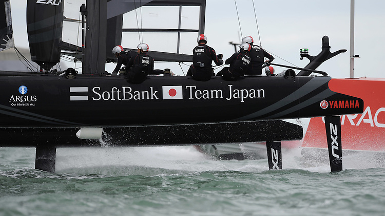 Dean Barker CEO/Skipper of SoftBank Team Japan rounds a mark during day two of the Louis Vuitton America's Cup World Series racing, Portsmouth, United Kingdom. (Photo by Rob Munro//Stewart Communications)