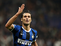 Football Soccer: UEFA Champions League -Group Stage- Group F Internazionale Milano vs Borussia Dortmund, Giuseppe Meazza stadium, October 23, 2019.<br /> Inter's Antonio Candreva celebrates after scoring during the Uefa Champions League football match between Internazionale Milano and Borussia Dortmund at Giuseppe Meazza (San Siro) stadium, on October 23, 2019.<br /> UPDATE IMAGES PRESS/Isabella Bonotto