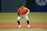 Stevie Wilkerson (7) of the Norfolk Tides takes his lead off of first base against the Charlotte Knights at Truist Field on May 14, 2021 in Charlotte, North Carolina. (Brian Westerholt/Four Seam Images)