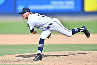 Asheville Tourists pitcher Colton Harlow (11) delivers a pitch during a game against the Columbia Fireflies at McCormick Field on June 23, 2019 in Asheville, North Carolina. The Fireflies defeated the Tourists 11-9. (Tony Farlow/Four Seam Images)