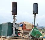 Landfill, Kampala, Uganda..Machines for burning methane gas at the municipal dump in Kampala, Uganda.