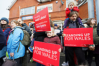 Pictured: A young family of Labour party supporters with placards outside the Barry Island Sports and Social Club. Saturday 07 December 2019<br /> Re: Labour Party leader Jeremy Corbyn pre-election campaign in Barry, south Wales, UK.