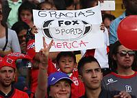 BOGOTA - COLOMBIA, 28-01-2018:Hinchas del América de Cali.Independiente Santa Fe y América de Cali por la final de la Copa Fox Sports 2018 jugada en el estadio Nemesio Camacho El Campin de la ciudad de Bogotá. / :Fans of América of Cali .Independiente Santa Fe and América de Cali for the final of the Fox Sports Cup 2018 played at the Nemesio Camacho Stadium The Campin of the city of Bogotá played at the Nemesio Camacho stadium El Campin in the city of Bogotá. Photo: VizzorImage / Felipe Caicedo / Staff.