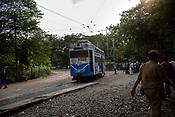 A tram travels in Kolkata, India, on Friday, May 26, 2017. Photographer: Sanjit Das