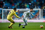 Marco Asensio Willemsen (R) of Real Madrid fights for the ball with Mario Gaspar Perez Martínez of Villarreal CF during the La Liga 2017-18 match between Real Madrid and Villarreal CF at Santiago Bernabeu Stadium on January 13 2018 in Madrid, Spain. Photo by Diego Gonzalez / Power Sport Images