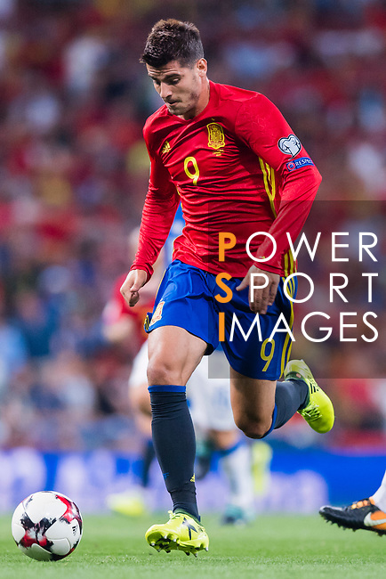 Alvaro Morata of Spain in action during their 2018 FIFA World Cup Russia Final Qualification Round 1 Group G match between Spain and Italy on 02 September 2017, at Santiago Bernabeu Stadium, in Madrid, Spain. Photo by Diego Gonzalez / Power Sport Images