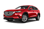 Stock pictures of low aggressive front three quarter view of 2018 Mazda CX-9 Touring-FWD 5 Door SUV Low Aggressive