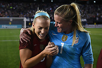 San Diego, CA - Sunday January 21, 2018: Julie Ertz, Alyssa Naeher prior to an international friendly between the women's national teams of the United States (USA) and Denmark (DEN) at SDCCU Stadium.
